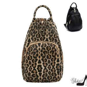 Sling Backpack in Leopard or Black